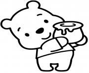 winnie lourson porte un pot de miel dessin à colorier