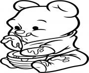 bebe winnie lourson adore le miel dessin à colorier
