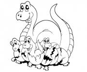 maman dinosaure et ses bebes dinos dessin à colorier