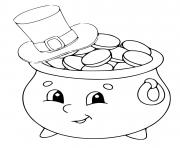 coloriage pot or au chapeau dessin anime