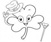 trefle saint patrick avec un chapeau dessin à colorier