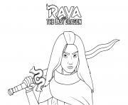 princesse raya et son epee dessin à colorier