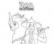 raya et le dernier dragon film de disney dessin à colorier