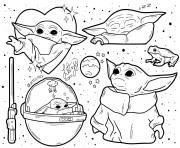 le monde du Jedi baby yoda dessin à colorier