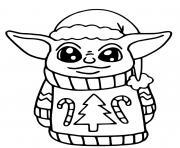 baby yoda noel dessin à colorier