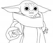 grogu baby yoda puissante force dessin à colorier