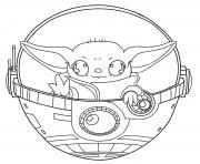 baby yoda kawaii starwars dessin à colorier