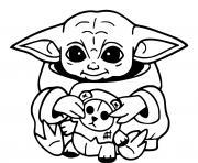baby yoda mandalorian au temple Jedi dessin à colorier
