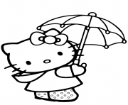 hello kitty sous un parapluie dessin à colorier