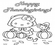 hello kitty happy thanksgiving citrouille avec une couris dessin à colorier