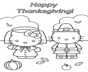 Coloriage hello kitty joyeuse action de graces thanksgiving