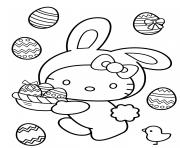 hello kitty lapin et oeufs de paques dessin à colorier