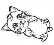 chaton cartoon de beaux yeux dessin à colorier