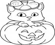 chaton dans une citrouille halloween dessin à colorier
