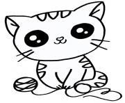 chaton mignon facile dessin à colorier