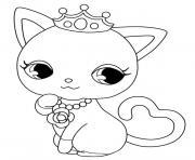 chaton princesse kawaii dessin à colorier
