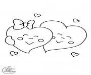 amoureux coeur dessin à colorier