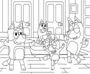 Bluey fait la fete avec les amis et familles dessin à colorier