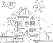 maison chalet de bluey dessin à colorier