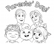 Jour des parents CoComelon Famille dessin à colorier