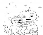 baby jay jj cocomelon et son chien bingo dessin à colorier