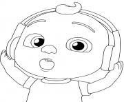 cocomelon kid listening to music dessin à colorier
