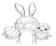 lapin de paques et oeuf cocomelon dessin à colorier