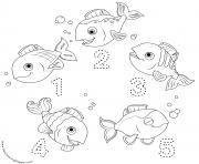 CoComelon chiffres poissons 12345 dessin à colorier