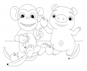 Mochi and Pepe Monkey and Pig dessin à colorier