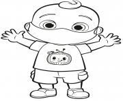 JJ bebe porte un masque dessin à colorier