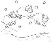 Three Sleepy Sheep to Print and Color dessin à colorier