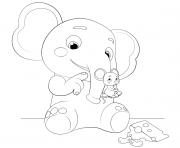 Ello and Mimi Elephant and Mouse dessin à colorier