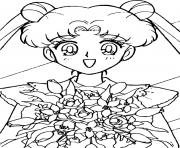 Sailor Moon with flowers dessin à colorier
