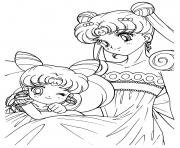 Sailor Moon and her baby princess dessin à colorier
