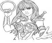 xena femme super heros dessin à colorier