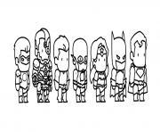 mini comics super heroes dessin à colorier