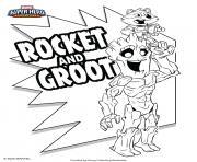 Rocket and Groot Marvel Super Heros dessin à colorier