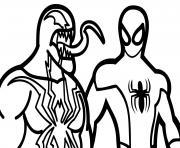 venom contre spiderman dessin à colorier