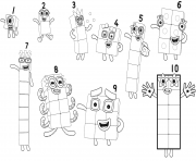 Numberblocks All Numbers dessin à colorier