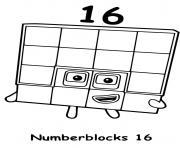numberblocks 16 sixteen dessin à colorier