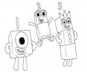 numberblocks 1 2 3 onw two three dessin à colorier