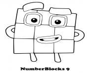 numberblocks 9 nine dessin à colorier