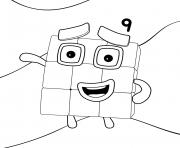 Numberblocks Number 9 dessin à colorier