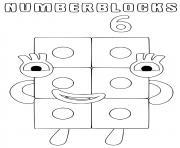 numberblocks 6 six dessin à colorier