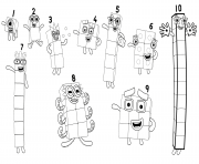 Number Blocks Numbers 1 to 10 dessin à colorier