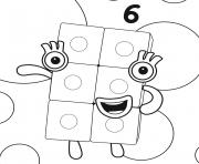 Numberblocks Number 6 dessin à colorier