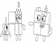 numberblocks 1 3 4 one two four dessin à colorier