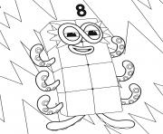 Numberblocks Number 8 dessin à colorier