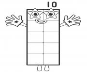 Rectangle Number Ten dessin à colorier