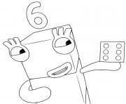 numberblocks 6 six fun dessin à colorier